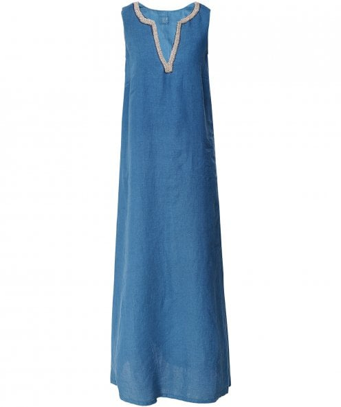 120% Lino Linen Beaded V-Neck Maxi Dress