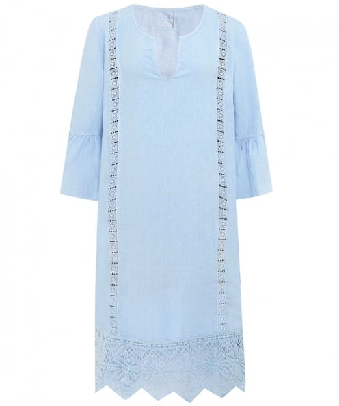 120% Lino Linen V-Neck Lace Panel Dress