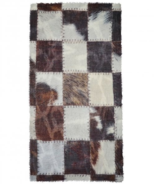 Ahujasons Patchwork Print Wool Blend Scarf
