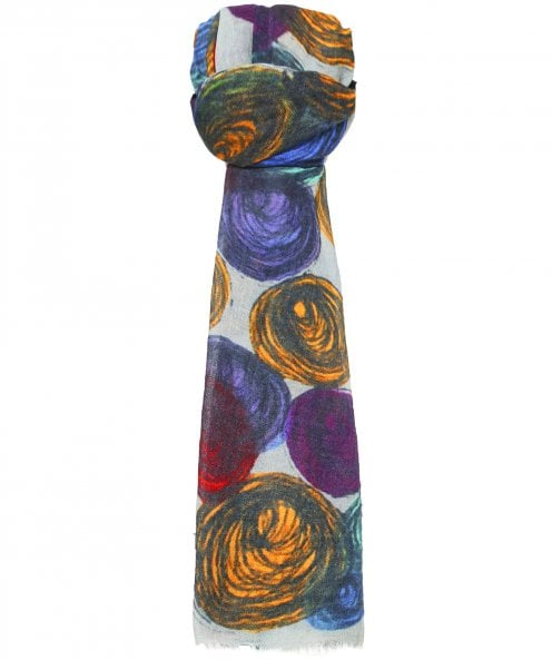 Ahujasons Scribbled Circle Print Scarf