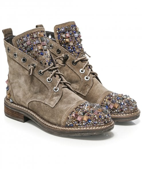 Alma en Pena Embellished Suede Lace Up Boots
