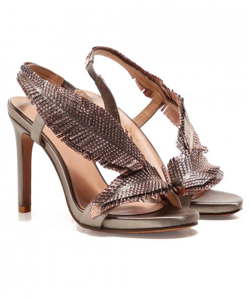 Alma en Pena Leather Embellished Feather Heels