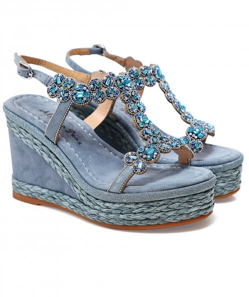 Alma en Pena T-Bar Rhinestone Wedge Sandals