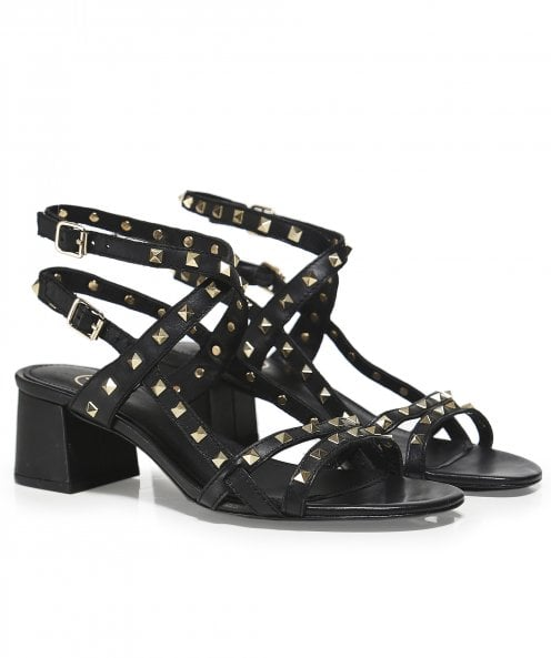 Ash Leather Iman Studded Block Heel Sandals