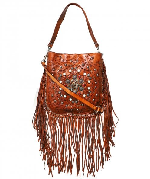 Campomaggi Leather Fringe Hobo Bag with Siena Studs