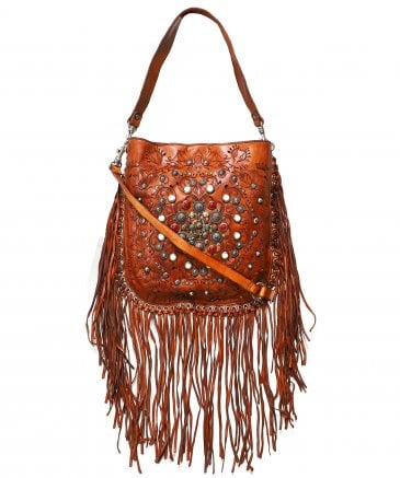fec8980855ac Campomaggi Brown Leather Fringe Hobo Bag with Siena Studs