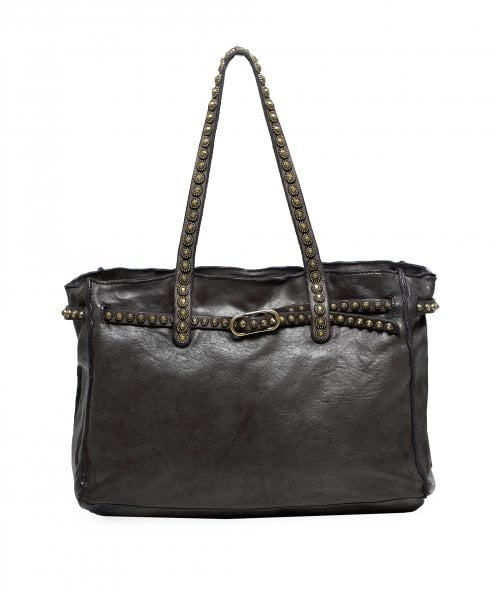 Campomaggi Leather Studded Handle Shopper Bag
