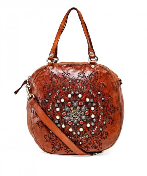 Campomaggi Leather Studded Western Round Bag