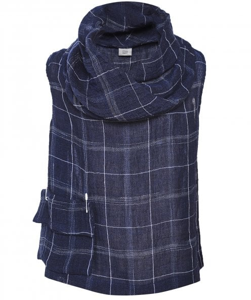 Crea Concept Linen Blend Checked Cowl Neck Vest Top