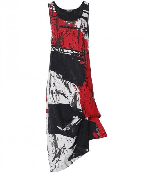 Crea Concept Linen Blend Printed Sleeveless Dress