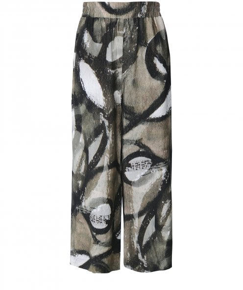 Crea Concept Linen Blend Printed Wide Leg Trousers