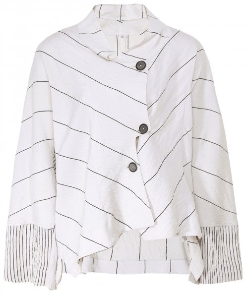 Crea Concept Striped Asymmetric Jacket