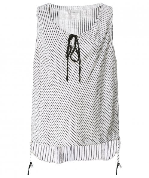 Crea Concept Striped Drawstring Vest Top