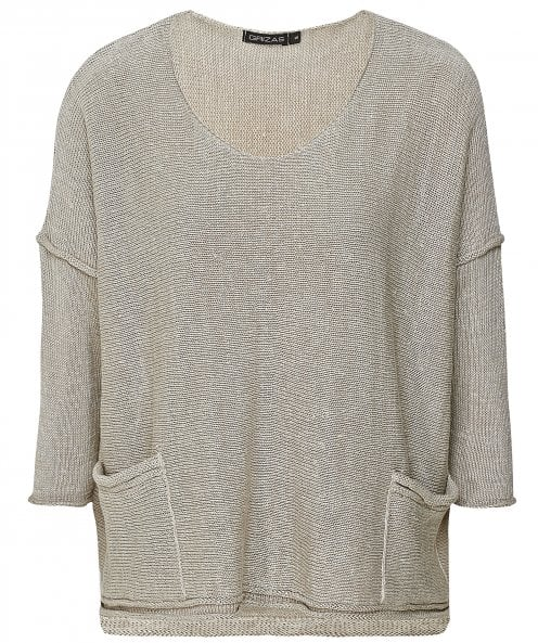 Grizas Cropped Sleeve Linen Jumper