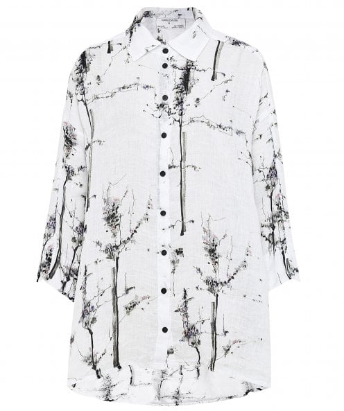 Grizas Linen Abstract Print Shirt