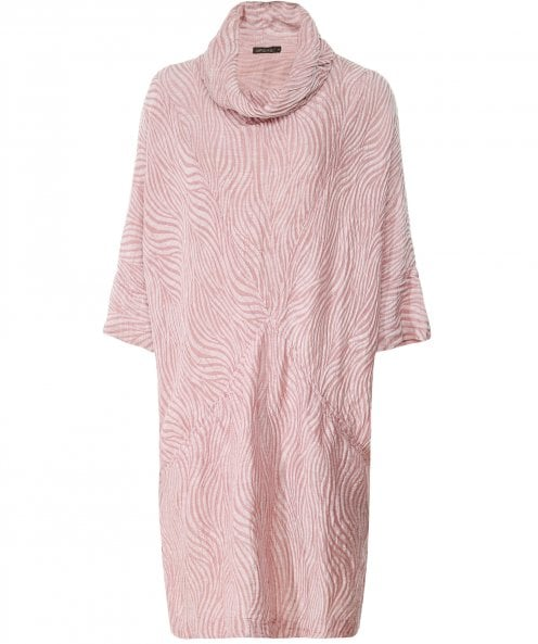 Grizas Linen and Silk Blend Cowl Neck Textured Dress
