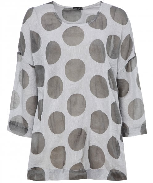 Grizas Linen Spot Pattern Top