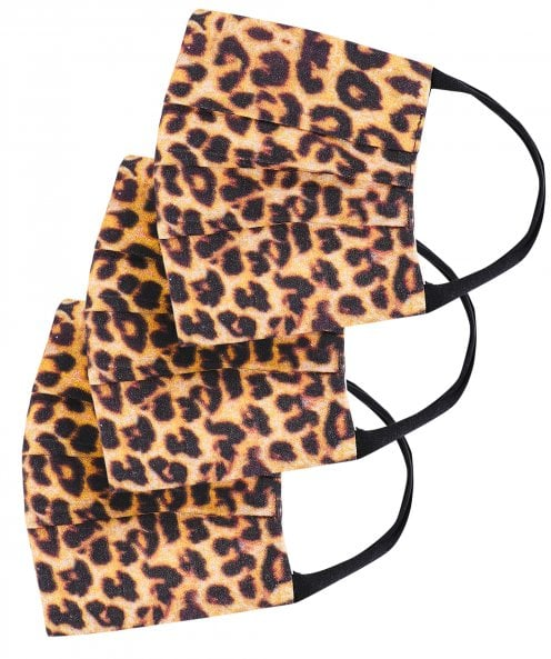 Grizas Pack of 3 Leopard Print Pleated Cotton Face Masks