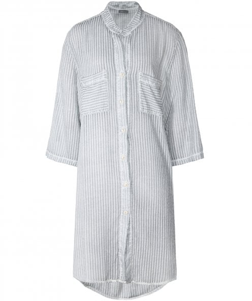 Grizas Silk Blend Stripe Long Shirt
