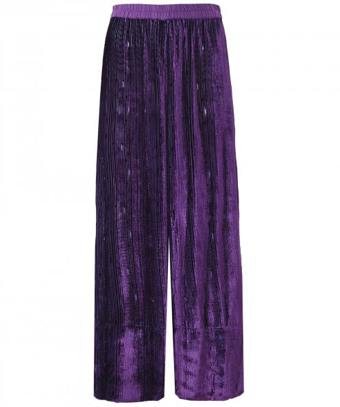 Grizas Velvet Plissé Wide Leg Trousers
