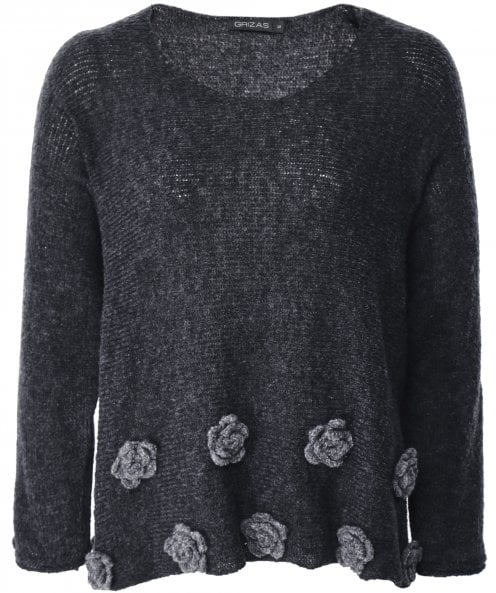 Grizas Wool Blend Rosette Jumper