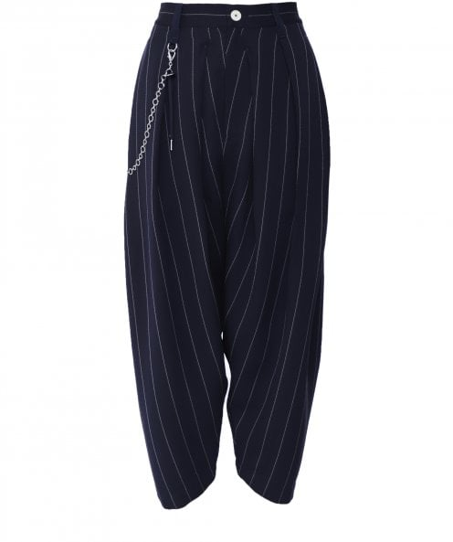 High Pair Up Cropped Pinstripe Trousers