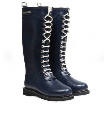 Long Lace-Up Wellington Boots