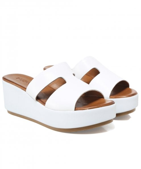 Inuovo Leather Double Strap T-Bar Wedge Sandals