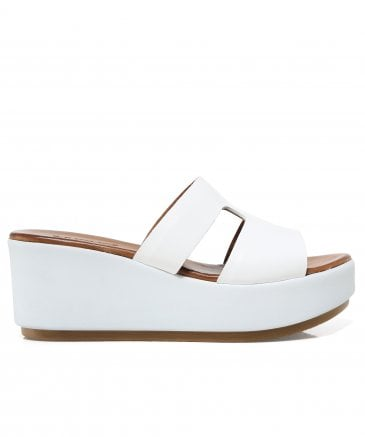 e913eb4b274 Inuovo Women s Leather Double Strap T-Bar Wedge Sandals