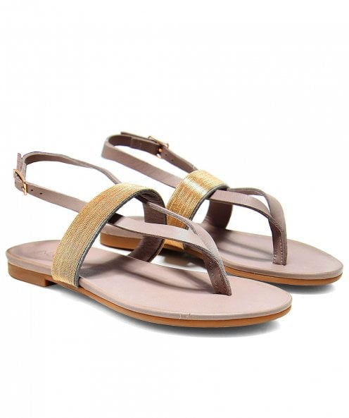 Inuovo Metallic Toe Post Sandals