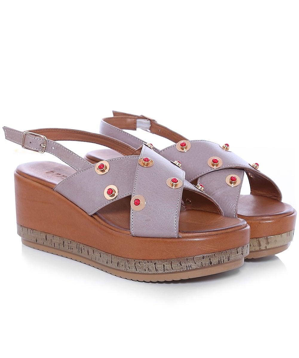 new styles 61b68 4a356 Slingback Studded Wedge Sandals