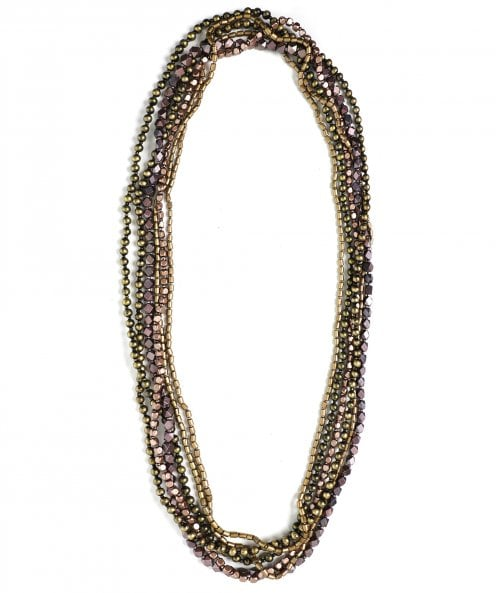 Jianhui Multi Strand Contrast Beaded Necklace