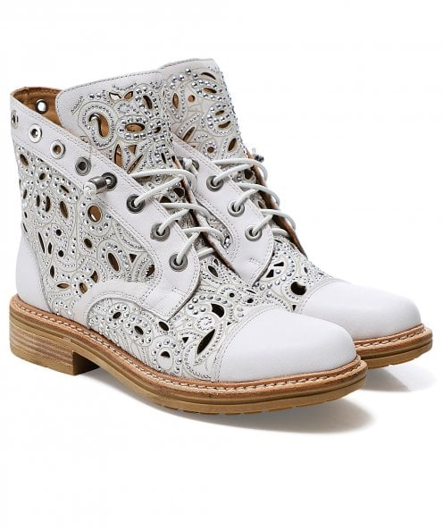Alma en Pena Laser Cut Leather Lace Up Boots