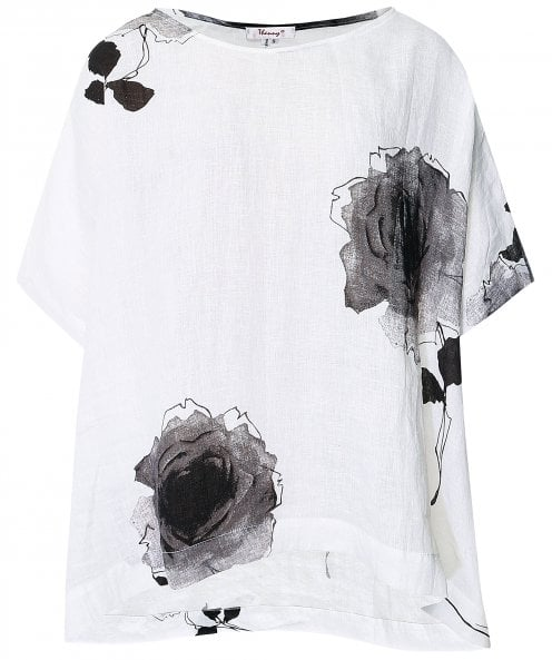 Thanny Linen Rose Print Top