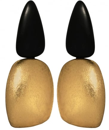 Ebony Gold Foil Clip On Earrings