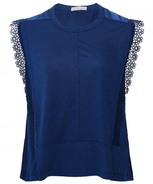 High Recite Jersey and Ribbon Lace Top