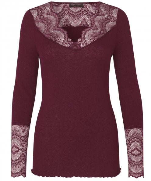 Rosemunde Silk Blend Brionne V-Neck Long Sleeve Top