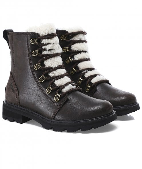 Sorel Lennox Leather Lace Cozy Boots