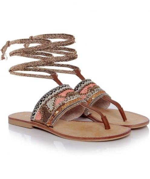 Tendenzza Beaded Ankle Tie Sandals