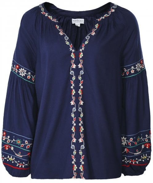 Velvet by Graham and Spencer Carina Embroidered Peasant Top