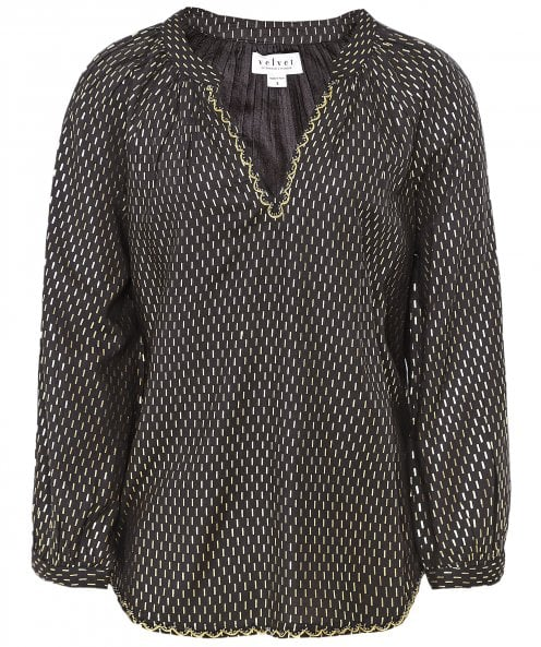 Velvet by Graham and Spencer Milla Gold Printed Blouse