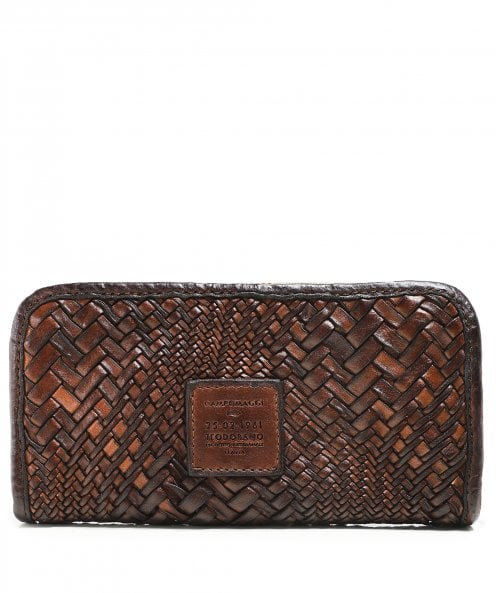 Campomaggi Woven Leather Zip Around Purse